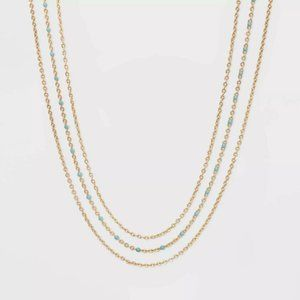 Layered Enamel Light Blue Gold Chain Necklace